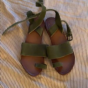 Freepeople lace up sandals olive sage green